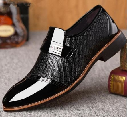 italian black formal shoes men loafers wedding dress shoes men patent leather oxford shoes - Dizzel Shopping