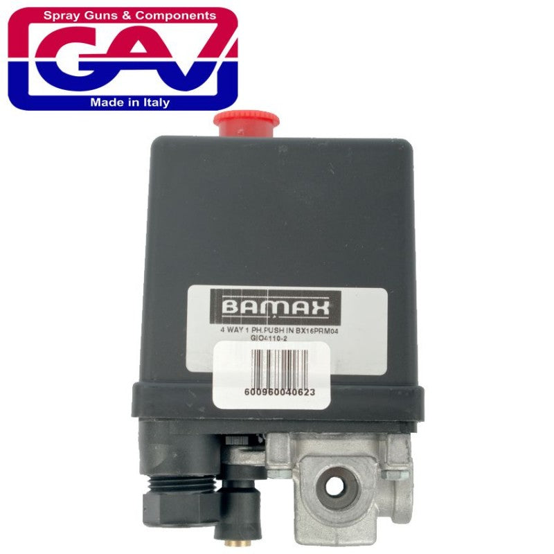 PRESSURE SWITCH 4 WAY 1 PHASE PUSH IN BX16PRM04