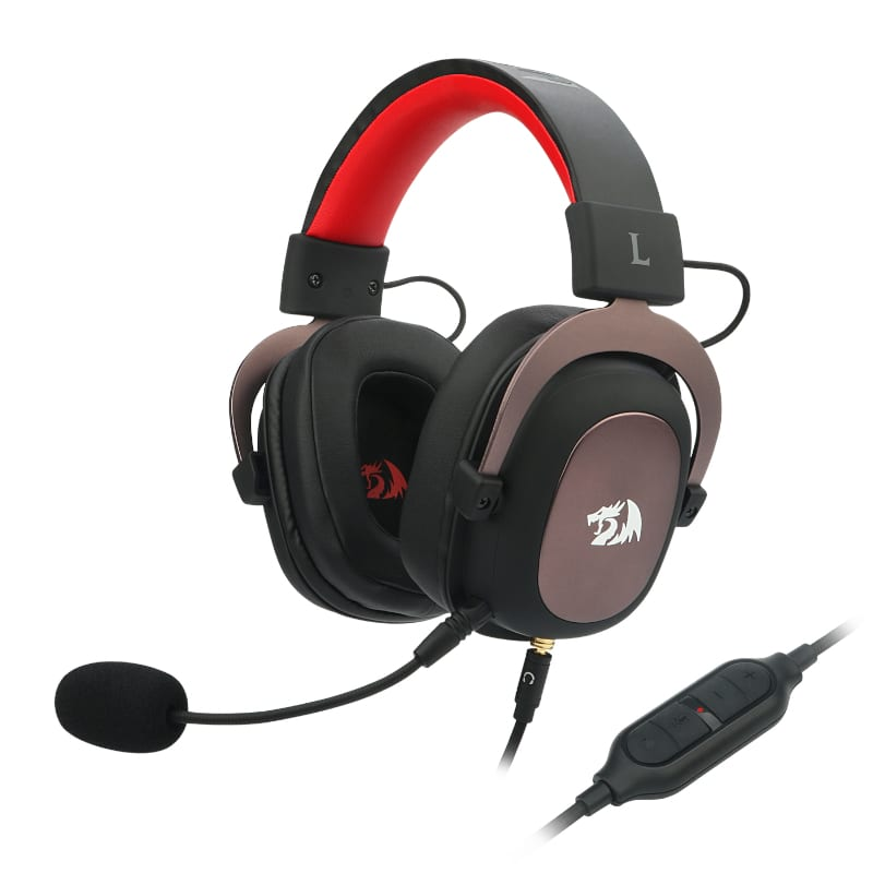 Redragon Zeus USB|Virtual 7.1|2m Cable|3.5mm Detachable Omnidirectional Boom Mic|53mm Driver|Gaming Headset - Black