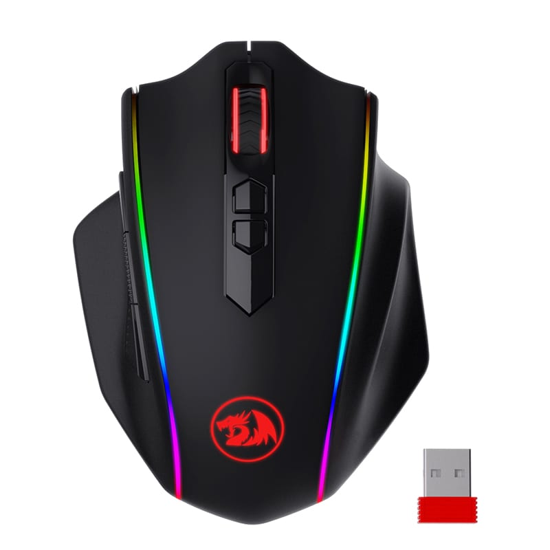 Redragon VAMPIRE ELITE Wireless 16000DPI|8 Button|Ergonomic Design|P3335 Optical Sensor|Type-C Cable|RGB Backlit Gaming Mouse - Black