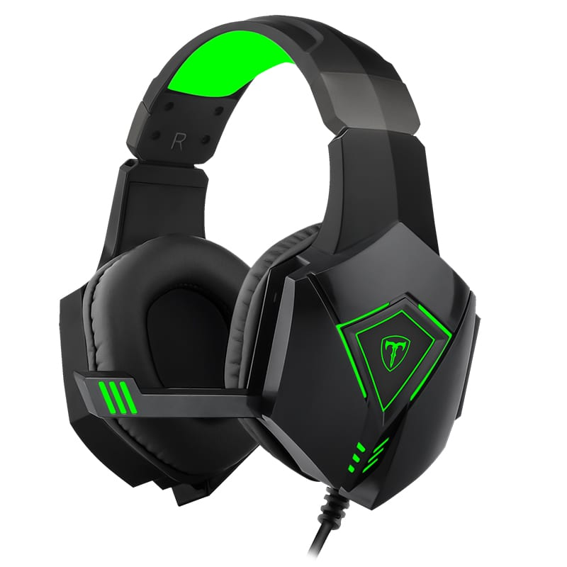 T-Dagger Rocky Green Lighting|210cm Cable|USB|Omni-Directional Luminous Snub Mic|40mm Bass Driver|Stereo Gaming Headset - Black/Green