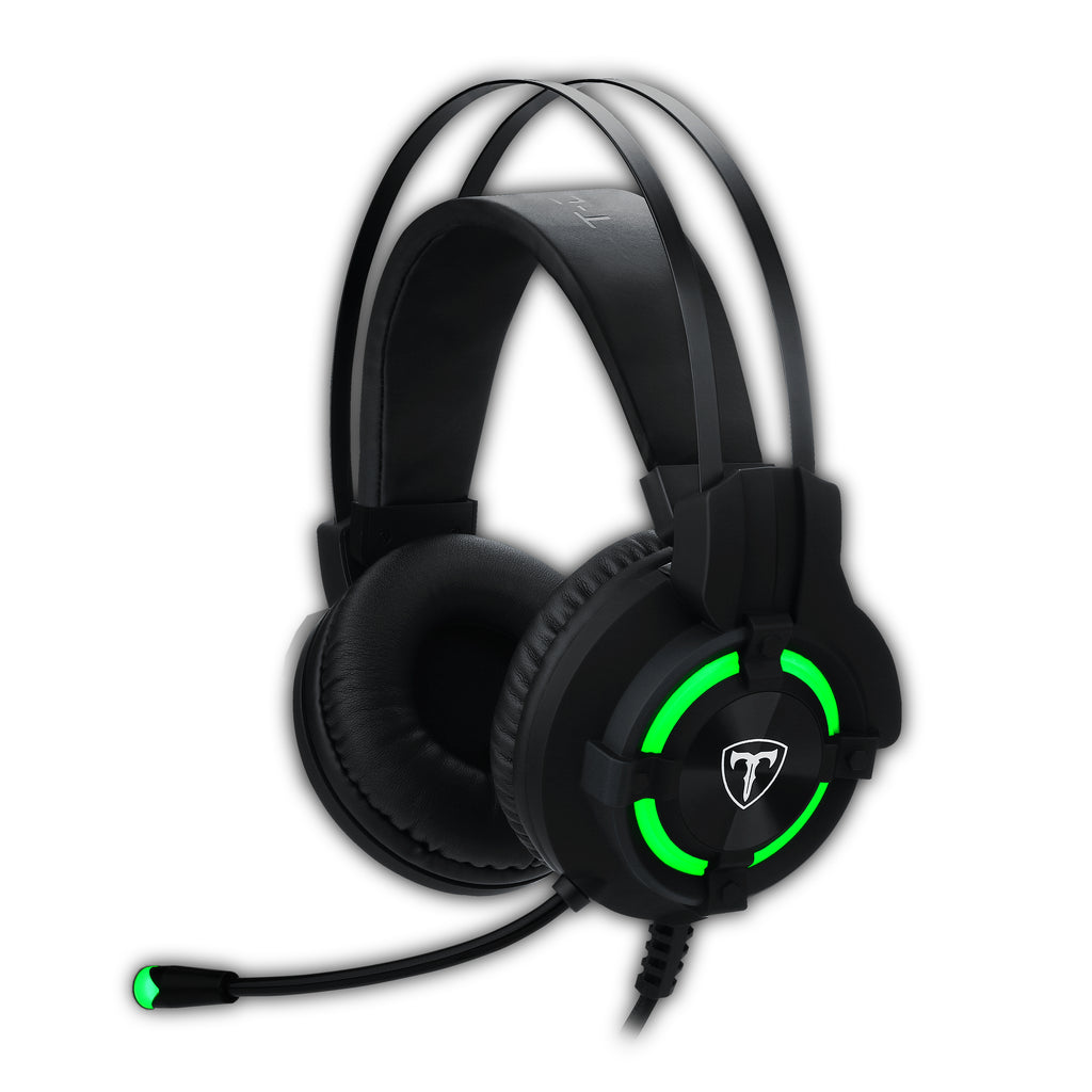 T-Dagger Andes Green Lighting|210cm Cable|USB|Omni-Directional Luminous Gooseneck Mic|40mm Bass Driver|Stereo Gaming Headset - Black/Green