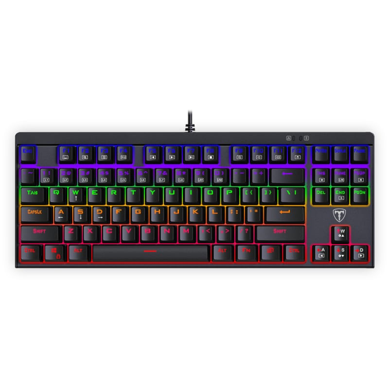T-Dagger Corvette Rainbow Colour Lighting|150cm Cable|10-Keyless Short Body Design|Blue Switch|Mechanical Gaming Keyboard - Black