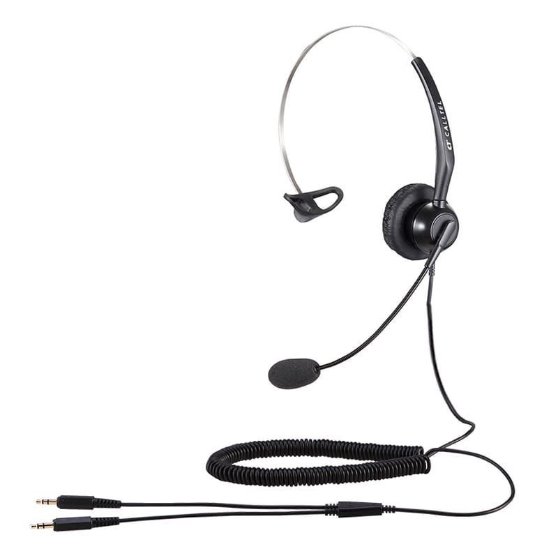 Calltel T800 Mono-Ear Noise-Cancelling Headset - Dual 3.5mm Jacks
