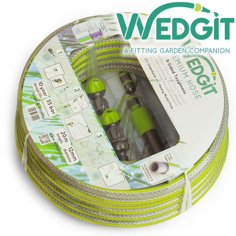 "Wedgit Premium Garden Hose 12mm (1/2"") 20m 35bar with Connector Starter Set"