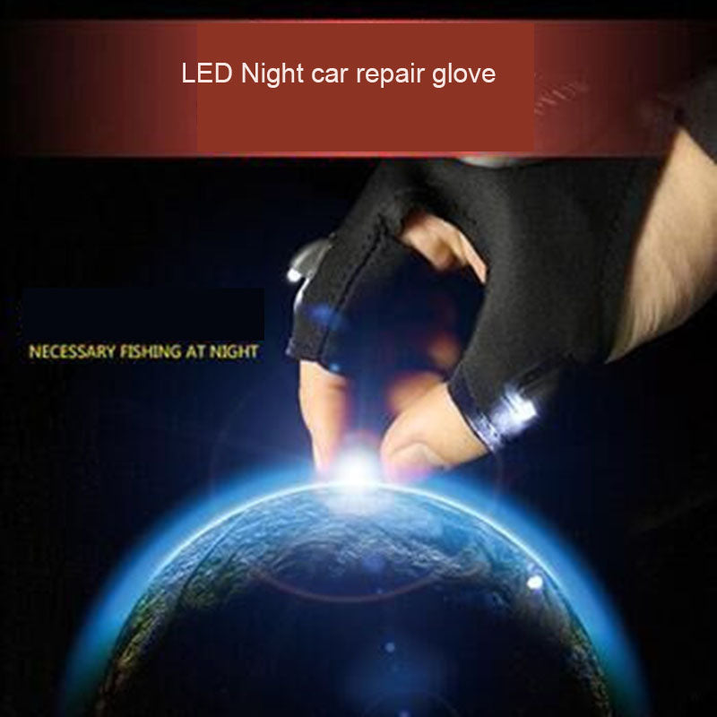 1pcs LED Light Car Repair Glove Night Fishing Lamp Glove Hanging Bait Lighting Glove Night Fishing Accessories - Dizzel Shopping