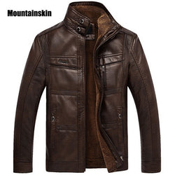 Mountainskin Leather Jacket Men Coats 5XL Brand High Quality PU Outerwear Men Business Winter Faux Fur Male Jacket Fleece EDA113 - Dizzel Shopping