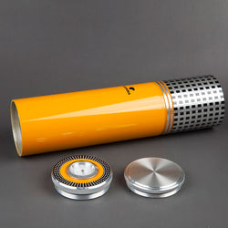 COHIBA MINI Gadgets Yellow&Black&Silver Travel Aluminium Alloy Cigar Tube Portable Jar Metal Humidor - Dizzel Shopping