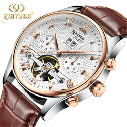 Mechanical Watch Automatic Men Classic Rose Gold Leather Mechanical Wrist Watches - Dizzel Shopping