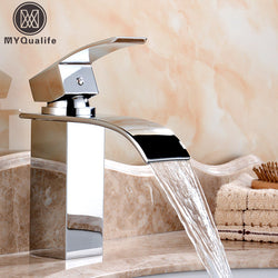 Deck Mount Waterfall Bathroom Faucet Vanity Vessel Sinks Mixer Tap Cold And Hot Water Tap - Dizzel Shopping