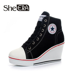 Wedges Shoes High Top Pumps Women Casual Shoes Female Height Increasing Platform Women Canvas Shoes