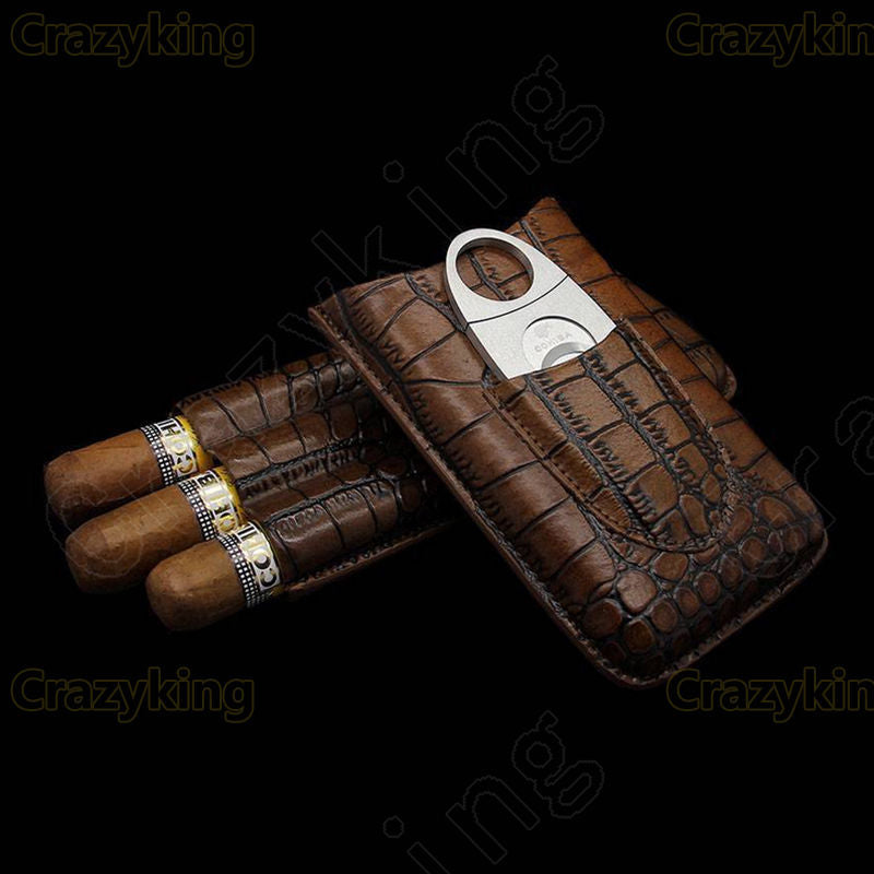 Cohiba Leather Travel Cigar Case Holder 3 Tube Humidor With Cutter Set - Dizzel Shopping