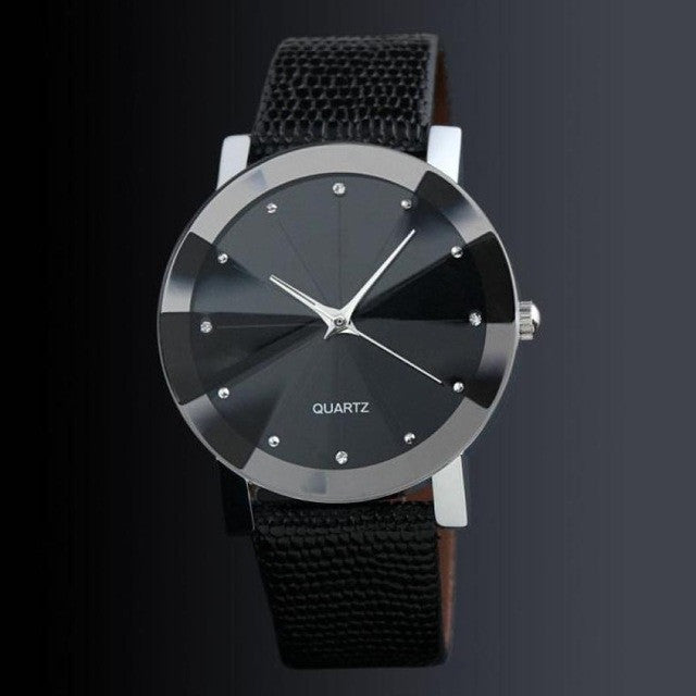 Faux Leather Male Clock Quartz Watch Simple Design Quartz-watch Relogio Masculino - Dizzel Shopping