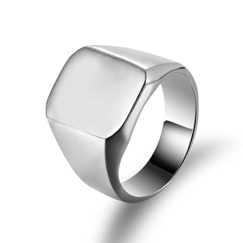 Thumb ring Steel plate plane ring  Polished Stainless Steel - Dizzel Shopping