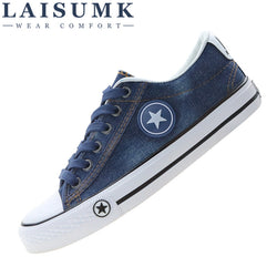 2017 LAISUMK Women Casual Shoes Canvas New Denim Trainers Stars Fashion Flats Basket Tenis Feminino Size 35-44 - Dizzel Shopping