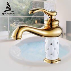 Basin Faucets Brass with Diamond Bathroom Faucet Gold - Dizzel Shopping