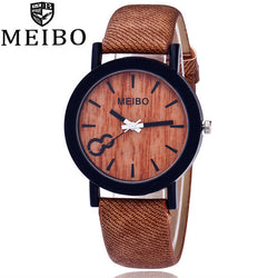 MEIBO Modeling Wooden Quartz Mens Watch Casual Wooden Color Leather Watch - Dizzel Shopping