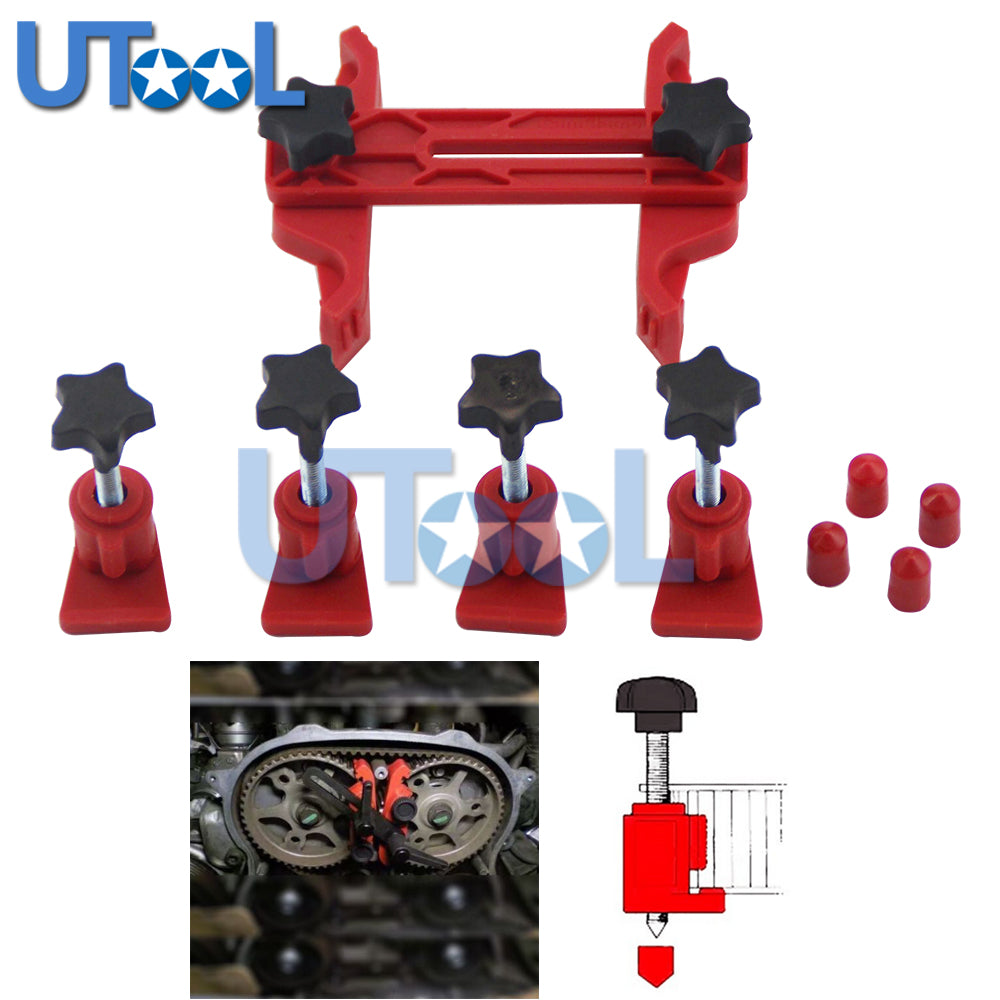 Universal 5pcs Dual Cam Clamp Camshaft Timing Sprocket Gear Locking Tool Kit - Dizzel Shopping