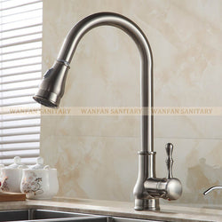 Kitchen Faucet Brass Brushed Nickel  Pull Out Rotation Spray Mixer - Dizzel Shopping