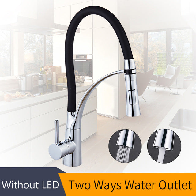 LED Kitchen Faucets with Rubber Design Chrome Mixer Faucet - Dizzel Shopping