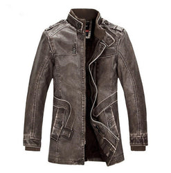 Hot High quality winter men's coat warm jacket Retro men's leather jacket Plus velvet motorcycle windproof PU leather - Dizzel Shopping
