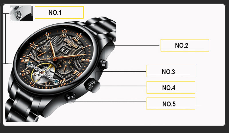 Skeleton Automatic Watch Men Waterproof Flying Tourbillon Mechanical Watches Mens Self Winding - Dizzel Shopping