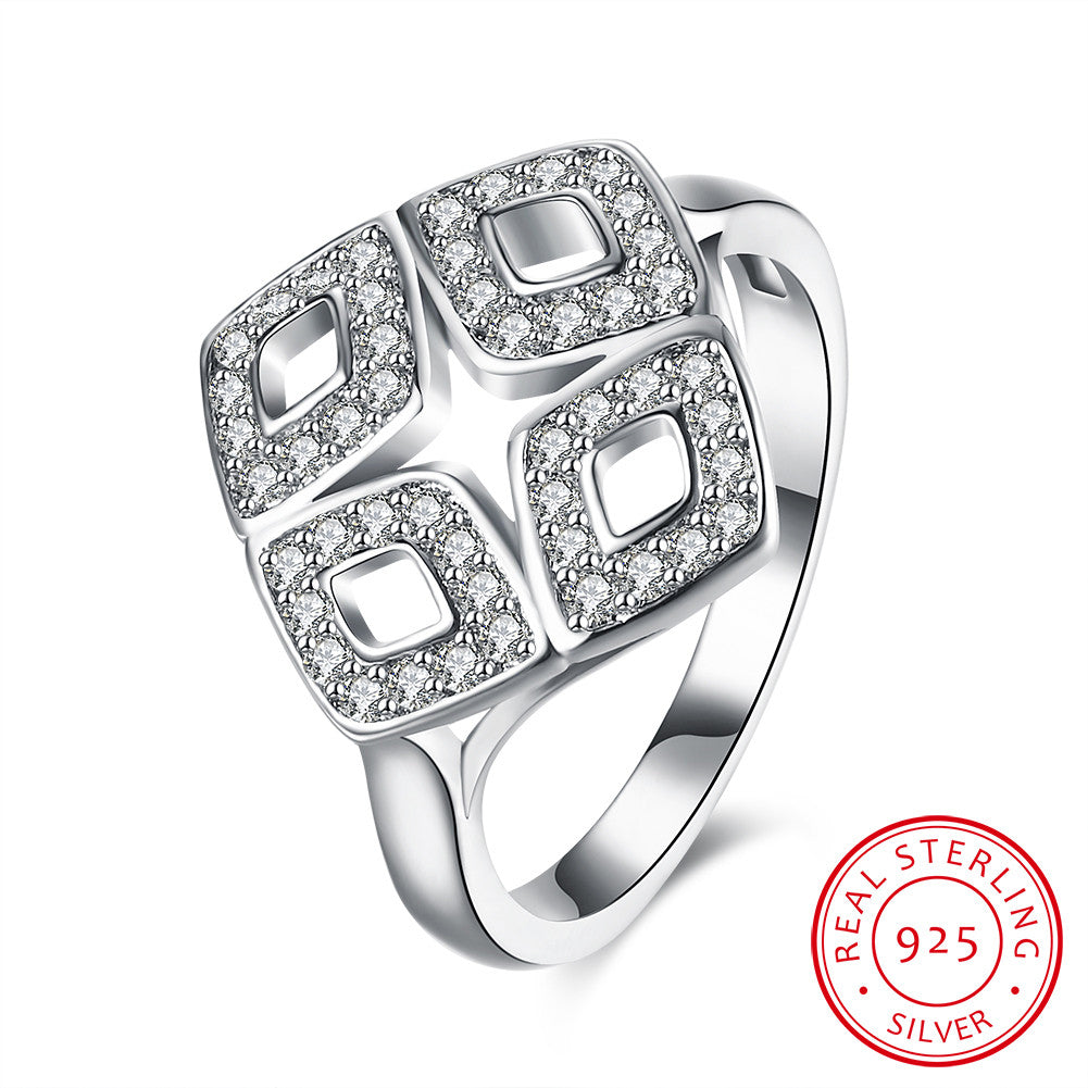 925 Sterling Silver Ring Four diamond inlay ring jewelry wholesalers - Dizzel Shopping