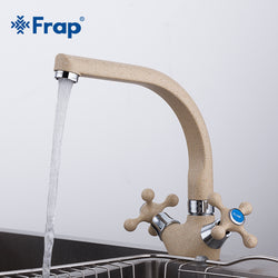 Kitchen sink Faucet Cold and Hot Water Mixer Tap Double Handle 360 Rotation - Dizzel Shopping