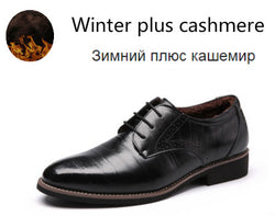 Man Flat Classic Men Dress Shoes Genuine Leather Wingtip Carved Italian Formal Oxford Plus Size 38-48 For Winter - Dizzel Shopping