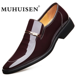 MUHUISEN Men Dress Leather Shoes Slip On Fashion Male Formal Oxford Shoes Flats Pointed Toe Casual Shoes For Men - Dizzel Shopping