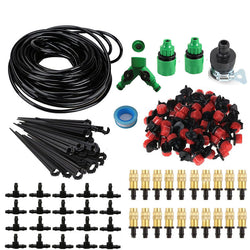 25m Garden DIY Automatic Watering Micro Drip Irrigation System Garden Self Watering Kits with Adjustable Dripper Spray Cooling - Dizzel Shopping