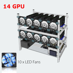 Stackable Open Air Mining Rig Frame Miner Case + 10 LED Fans For 14 GPU ETC BTH New Computer Mining Case Frame Server Chassis - Dizzel Shopping