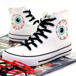 New Punk High Top Canvas Shoes Lace Up Breathable Skull Print Women Casual Shoes Platform Couplers Footwear - Dizzel Shopping