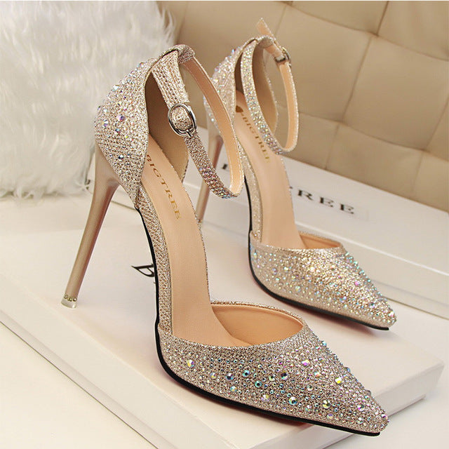 Women Pumps Sexy High Heels Shoes Woman Silver Rhinestone Wedding Shoes High Heels Party Shoes Summer Hight Heels Sandals 305-3 - Dizzel Shopping