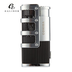 COHIBA Cigar Smoking Ligther w/ Built-in Cigar Punch Flame 3 Torch Cigarette Fire Lighter - Dizzel Shopping