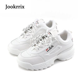 Lady Casual White Shoes Women Sneaker Black Leisure Thick Soled Shoes Flats Cross-tied Lace Up - Dizzel Shopping