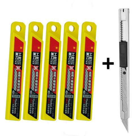 1pc snap-off art knife + 50pcs extra retractable blades for car window repair - Dizzel Shopping