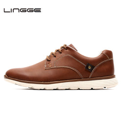 LINGGE New Leather Shoes Men's Flats, Design Style Men Shoes, Fashion Lace Up Casual Shoes For Men Big Size 39-46 #IL007-2 - Dizzel Shopping
