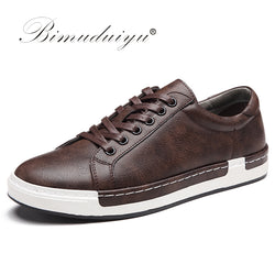 BIMUDUIYU Autumn New Casual Shoes Mens Leather Flats Lace-Up Shoes Simple Stylish Male Shoes Large Sizes Oxford Shoes For Men - Dizzel Shopping