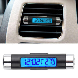 2in1 Car Auto LCD Clip-on Digital Temperature Thermometer Clock Calendar Automotive Blue Backlight Clock - Dizzel Shopping