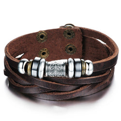 Genuine Leather Heavy Charm Men's Stainless Steel Bracelet - Dizzel Shopping