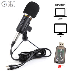 GEVO MK-F200FL Condenser Microphone For Computer Studio Profesionales 3.5mm Wired Stand USB Mic For PC Karaoke Laptop Recording - Dizzel Shopping