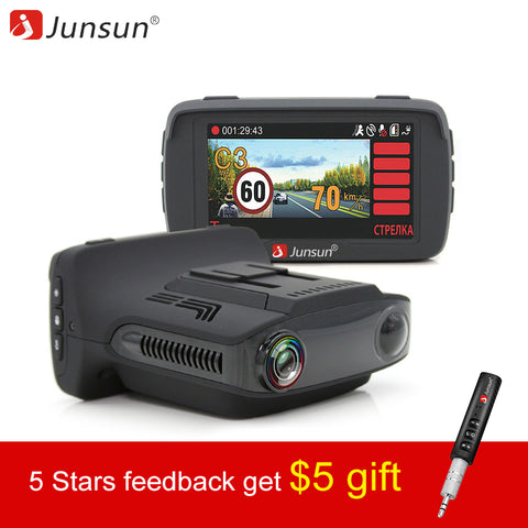 3 in 1 Video Recorder Car DVR Camera Ambarella A7 Radar Detector GPS LDWS Full HD 1296p 170 Degree dash cam Registrar - Dizzel Shopping