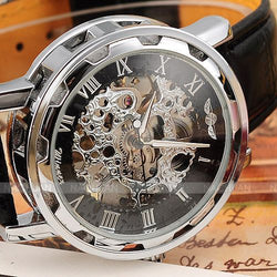 skeleton hollow fashion mechanical hand wind men leather strap Wrist Watch - Dizzel Shopping