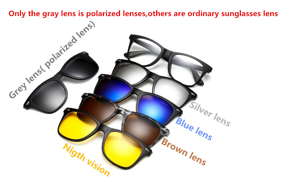 5 in 1 Polarized Magnetic Sunglasses With Bag