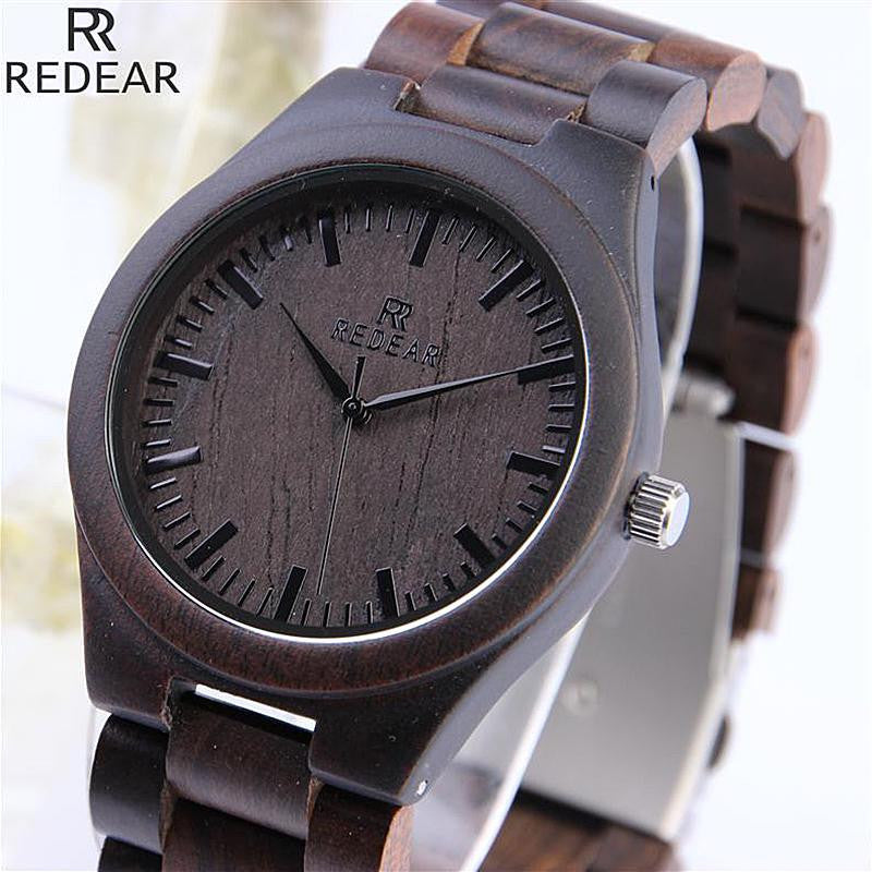 Vintage Full Wood Wrist Watches Ebony Bamboo Wooden Watches Wood Strap Movement Men'S Watch