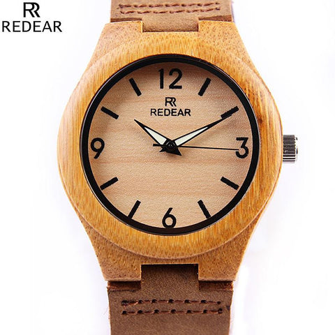 Luminous Hands Bamboo Wooden Watches Genuine Cowhide Leather for men