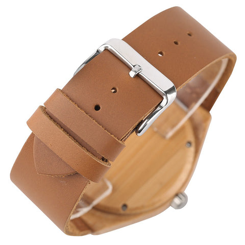 Natural Wooden Watches Handmade Men's Quartz Watch-Brown
