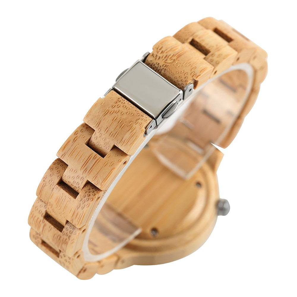 Wooden Watches Quartz Watch Nature Bamboo Clock Bamboo Wristwatch-Black