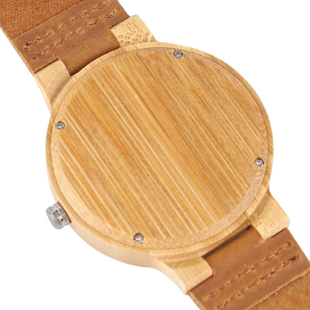 Wooden Watches Modern Simple Wristwatches Bamboo Wristwatch-Brown
